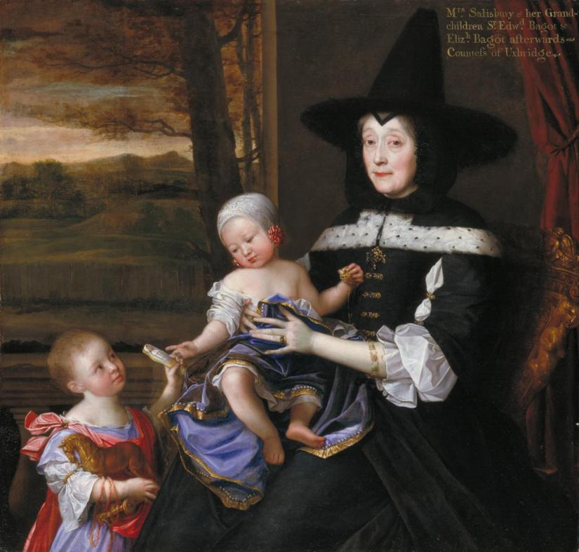 Portrait of Mrs Salesbury with her Grandchildren Edward and Elizabeth Bagot 1675-6 by John Michael Wright 1617-1694